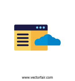 cloud computing with webpage template flat style over white