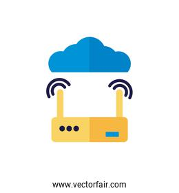 cloud computing with router flat style