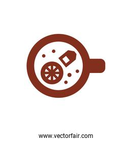 tea cup with lemon fruit half silhouette style icon