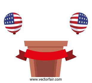 Podium and balloons of usa happy presidents day vector design
