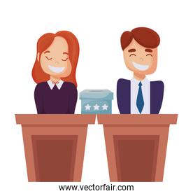Man cartoon and woman on podium of usa happy presidents day vector design