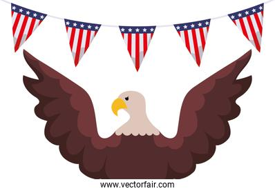 Isolated usa flag banner pennant and eagle vector design