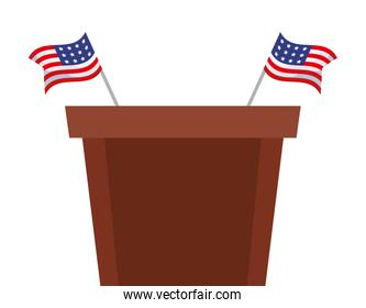 Podium and flags of usa happy presidents day vector design