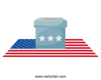 Vote box and flag of usa happy presidents day vector design