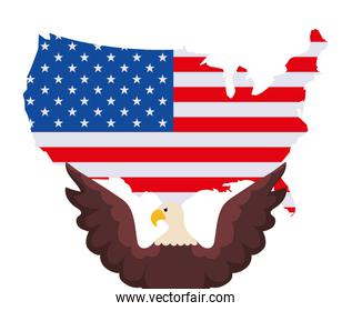 Isolated usa flag map and eagle vector design