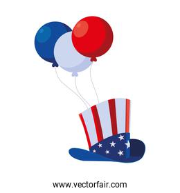 Isolated usa flag hat and balloons vector design
