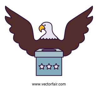 Eagle and vote box of usa happy presidents day vector design