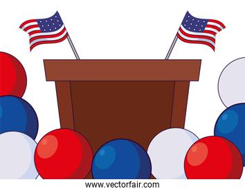Podium with flags and balloons of usa happy presidents day vector design