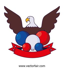 Eagle and balloons of usa happy presidents day vector design