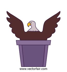 Eagle over podium of usa happy presidents day vector design