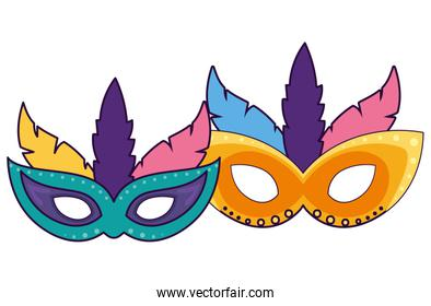 Isolated party masks vector design