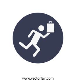 fast delivery concept, pictogram man running with shopping bag icon, block style
