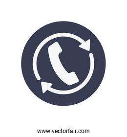 free delivery concept, call service icon, block style
