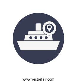 cargo ship and location pin icon, block style