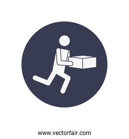 fast delivery concept, pictogram man running with a box icon, block style