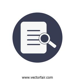document page and magnifying glass icon, block style