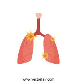 Lungs with covid 19 virus flat style icon vector design