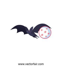 Bat with covid 19 virus flat style icon vector design