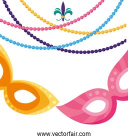 Isolated mardi gras masks and necklaces vector illustration
