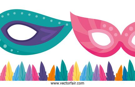 Isolated party masks with feathers vector design