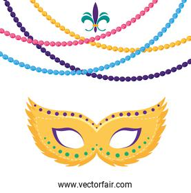 Isolated mardi gras mask and necklaces vector design