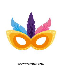 Isolated party mask with feathers vector design