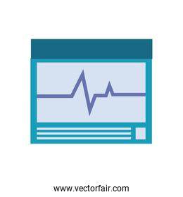 Heart pulse inside screen flat style icon vector design