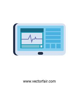 Heart pulse inside tablet flat style icon vector design