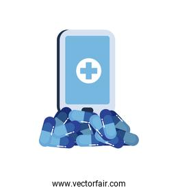 Pills and cross inside smartphone flat style icon vector design