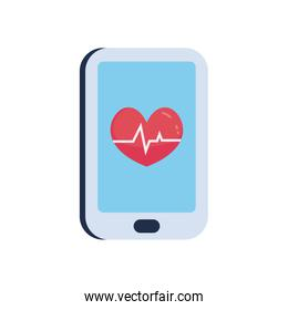 Heart with pulse inside smartphone flat style icon vector design