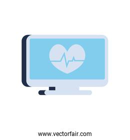 Heart with pulse inside computer flat style icon vector design