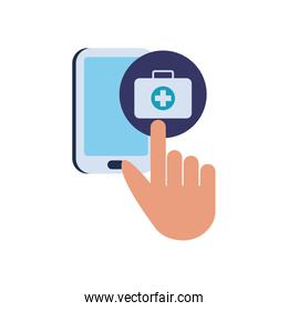 Cross inside kit and smartphone flat style icon vector design