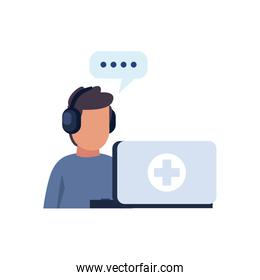 Man avatar with cross inside laptop flat style icon vector design