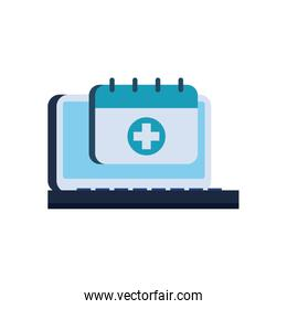 Cross inside calendar and laptop flat style icon vector design