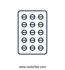 Pills tablet line style icon vector design