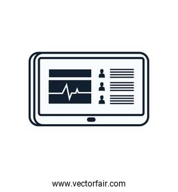 Heart pulse inside tablet line style icon vector design