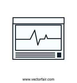 Heart pulse inside screen line style icon vector design