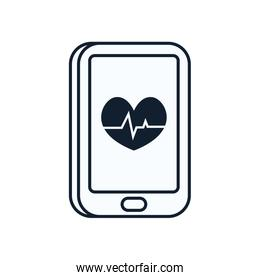 Heart with pulse inside smartphone line style icon vector design