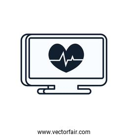 Heart with pulse inside computer line style icon vector design