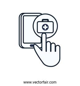 Cross inside kit and smartphone line style icon vector design