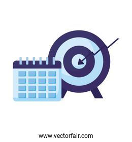 Isolated target and calendar vector design