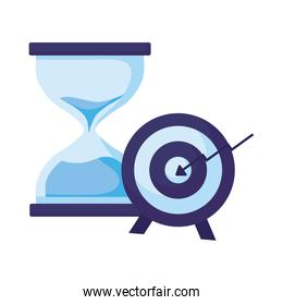 Isolated target and sand hourglass vector design