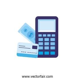 Isolated money dataphone bill and credit card vector design