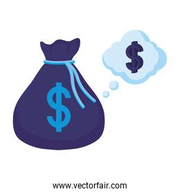 Isolated money bag and bubble vector design