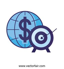 Isolated dollar global sphere and target vector design