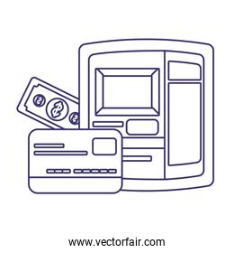Isolated money atm bill and credit card vector design