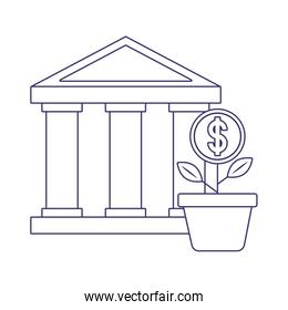 Isolated money bank and plant vector design