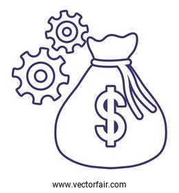 Isolated money bag and gears vector design