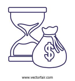 Isolated money bag and sand hourglass vector design
