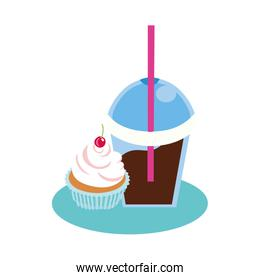 sweet cupcake with cherry dessert and chocolate smoothie